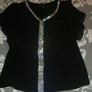 Black Sequin Dressy Top with Ruffled Sleeves